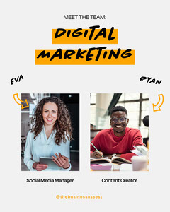 orange black grey digital marketing meet the team instagram portrait  Teams