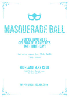 blue glittery Masquerade Invitation Masquerade Invitation