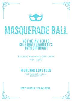 blue glittery Masquerade Invitation Gala Flyer