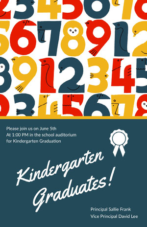 Illustrated Kindergarten Graduation Poster with Numbers Graduation Poster