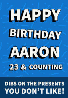 Blue Typography Happy Birthday Card Birthday Card