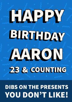 Blue Typography Happy Birthday Card Birthday