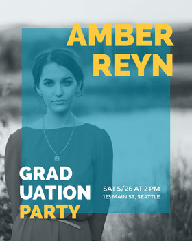 Blue and Yellow Graduation Party Flyer with Portrait of Woman Flyer