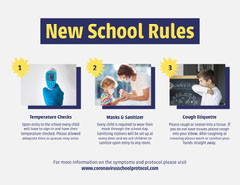 purple yellow new school rules letter After School