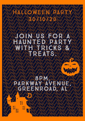 Orange Spooky Haunted House and Pumpkin Halloween Party Invitation Card Festinvitation