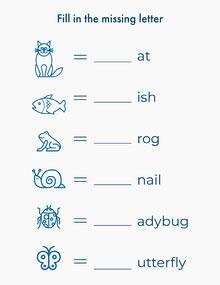 blue white animals learning spelling letter Lettera