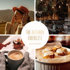 Orange Brown Warm Autumn Checklist Instagram Square  Drink