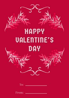 Pink Floral Frame Valentines Note Valentine's Day
