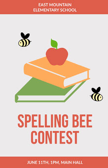 Pink and White Spelling Bee Contest Poster School Posters
