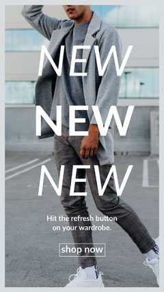 men fashion ad Instagram story  Grey