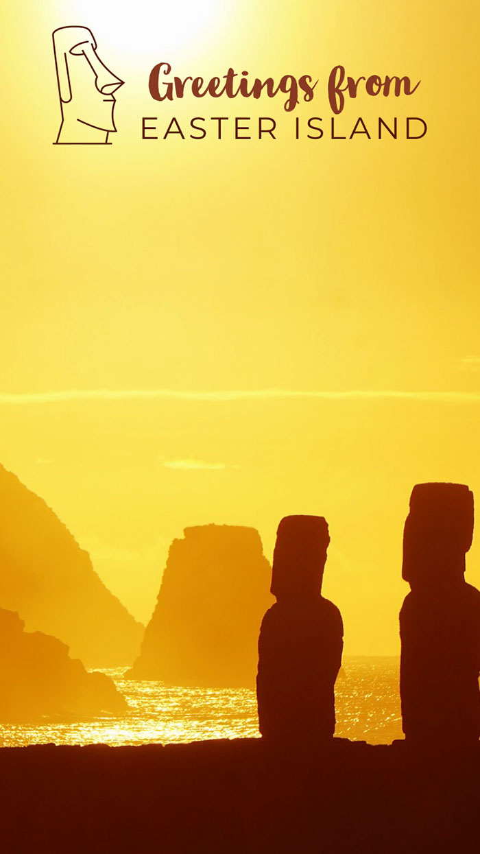 Yellow and Brown Easter Island Snapchat Happy Easter Quotes & Messages