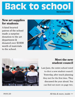 Blue Back To School Newsletter Student Council Poster