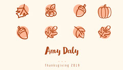 Brown Illustrated Thanksgiving Dinner Place Card Thanksgiving