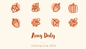 Brown Illustrated Thanksgiving Dinner Place Card Tischkarten