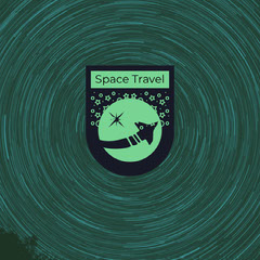 Green and Black Space Travel Badge Space