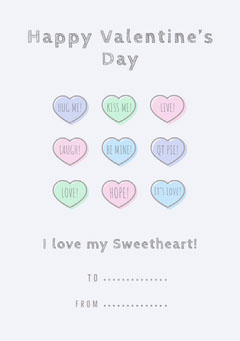 Pastel and Gray Heart Valentine's Day Party Card Valentine's Day