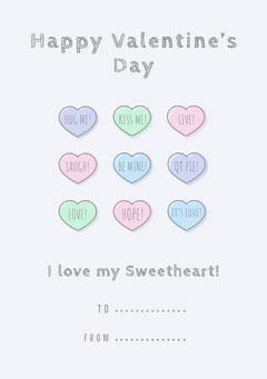 Pastel heart valentines note Valentine's Day