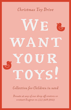 Pink & Red Toy Donation Poster Fundraiser