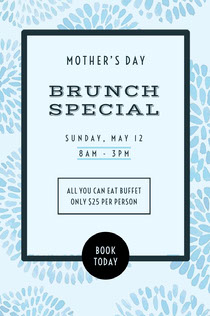 White and Blue Brunch Special Social Post Mother's Day Card