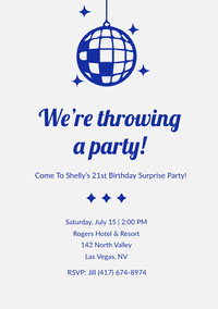 Blue and Grey Birthday Party Invitation Einladung zum Geburtstag