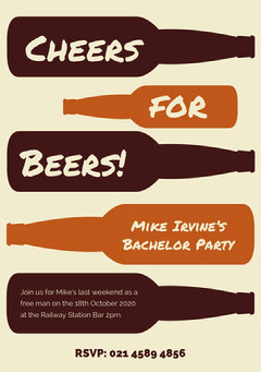 Brown and Beige, Bechelor Party Invitation Card Party