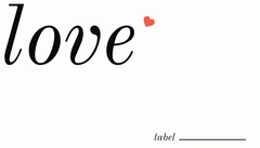 Love Word Wedding Table Place Card Heart