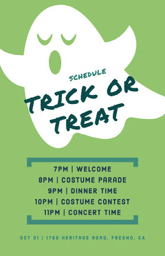 Ghost Trick Or Treat Halloween Party Schedule Halloween Party Schedule