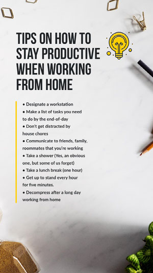 work from home tips instagram story Instagram Stories