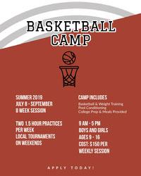 Brown and White Basketball Camp Poster Basketball