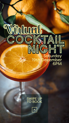 Orange Cocktail Virtual Party Invite Instagram Story Cocktails