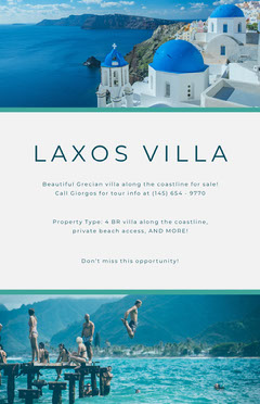 Blue and White Greek Villa Real Estate Agency Flyer House For Sale Flyer