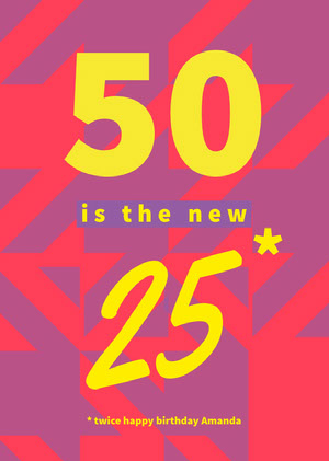 Yellow and Pink Birthday Card 50th Birthday Invitations