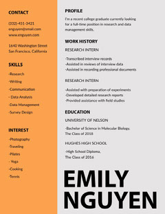 Orange Science Researcher College Graduate Resume Science