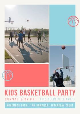 Flyer Kids Basketball Party Folleto de invitación a evento