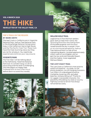 Green Hiking Newsletter with Backpacker Photos Newsletter Examples