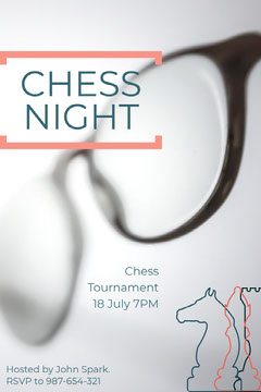 White and Green Chess Night Poster Game Night Flyer