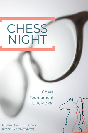 White and Green Chess Night Poster Spillekort