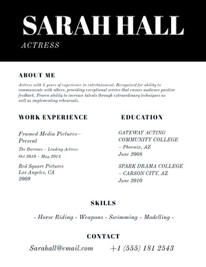 Black and White Actress Resume Curriculum per attori