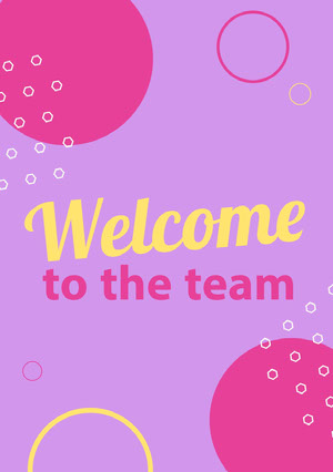 Purple, Pink and Yellow Welcome Card Welcome Card Messages