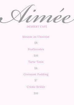 Pink and Silver Dessert Cafe Menu Cakes