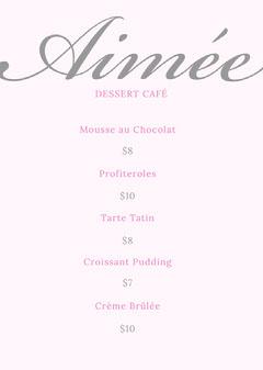 Pink and Silver Dessert Cafe Menu Dessert