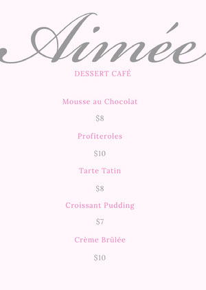 Pink and Silver Dessert Cafe Menu Cafe Menu