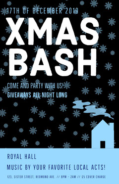 Blue Christmas Party Flyer with Snowflakes and House Christmas Party