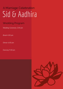 Red and White Wedding Ceremony Program Programa de bodas