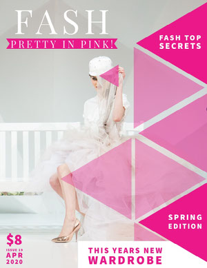 Pink and White Fashion Magazine Cover Magazine Cover for Vogue