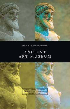 Ancient Art Museum Exhibit Flyer with Statue Museum