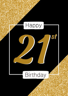 Black & Gold Glitter 21st Card Gold