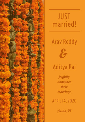 Orange Floral Indian Wedding Announcement Card 結婚通知