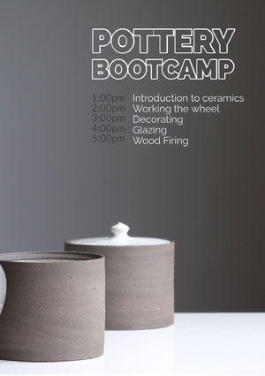 Grey and Black Pottery Bootcamp Program Event Program