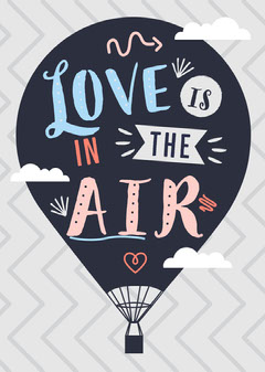 Blue and Navy, Light Toned, Valentines Day Card Balloon